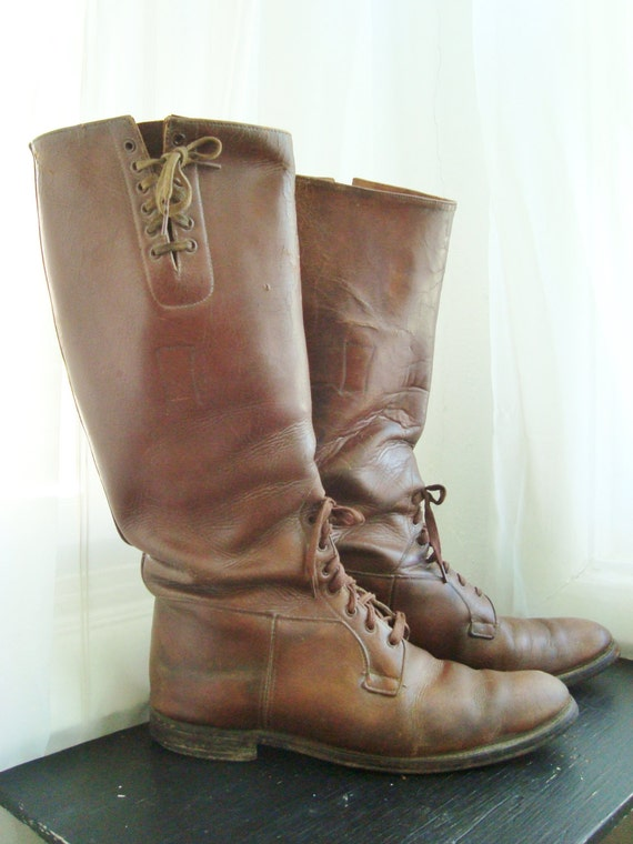 s brown leather wwi cavalry knee high boots size 9