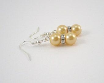Yellow Bridesmaids Earrings, Yellow Wedding Earrings, Canary Wedding Jewelry, Yellow Bridesmaids Gift, Yellow Pearls & Rhinestone Earrings