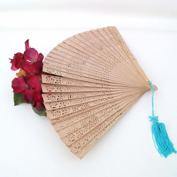 Vintage Wooden Hand Fan Folding Fan Reticulated Wood Slats