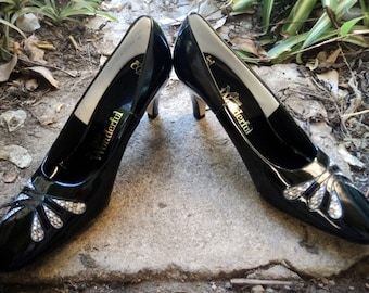 Vintage Heels Snake Skin Inlaid 60s Miss Wonderful NOS Patent Leather Shoes Sz 8