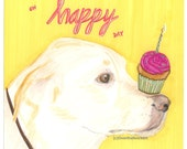 Birthday Greeting Card, Labrador Fine Art Card, Handmade Card, Dog Illustration, Pet Portrait, Handmade, Yellow Pink