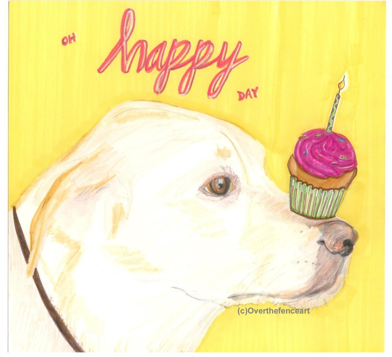 Birthday Card YELLOW LABRADOR PUPPY with Happy Birthday – Happy Birthday Cards with Dogs