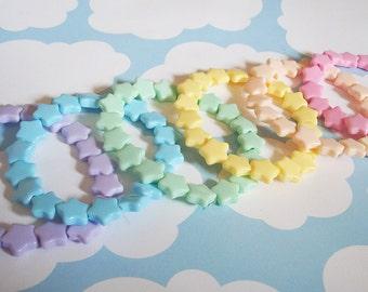 Fairy Kei Pastel Candy Stars Beaded Bracelet