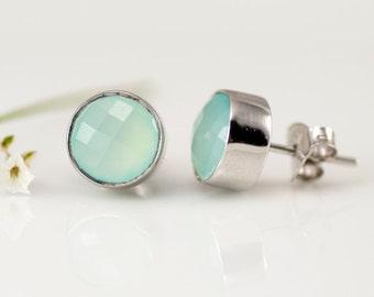 Aqua Blue Chalcedony Stud Earrings - Gemstone Studs - Round Studs - Sterling Silver Stud Earrings - Post Earrings
