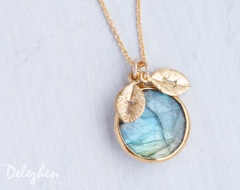 Labradorite Necklace - Personalized Necklace - Customize Initials Necklace - Gemstone Necklace - Gold Necklace