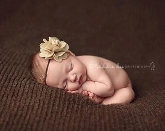 Baby Flower Headband- Baby Headband- Newborn Headband- Tan Burlap Ruffled Flower on Skinny Brown Elastic Headband