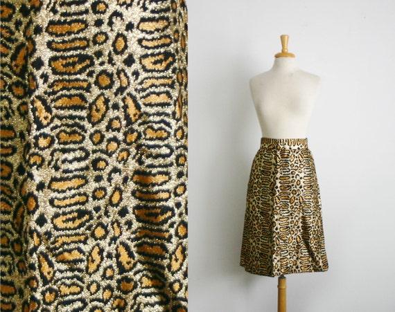 1960s leopard print gold metallic thread skirt, size medium