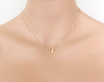Gold Horseshoe Necklace Centered Lucky Horseshoe Pendant Small Friends Birthdays Gifts