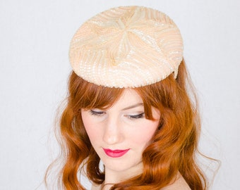 50% OFF SALE / 1950s vintage hat / beaded cocktail hat / Palest Blush