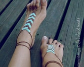Crochet Barefoot Sandals Pattern Tribe PDF  - geometric trend accessory - Instant DOWNLOAD
