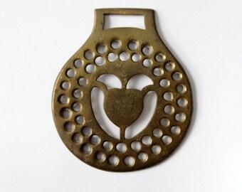 Brass harness chest piece, equestrian fixture, horse harness decor