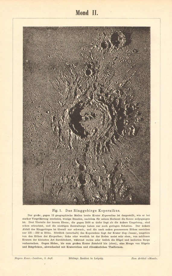 1896 Mountain Ranges, Impact Craters on Earth's Moon, Copernicus Crater, Gay-Lussac Crater, Montes Carpatus, Reinhold Crater Vintage Print