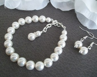 Swarovski Pearl Bracelet, Swarovski Earrings, Bridesmaid Jewelry Set, Bridal Set, Mother of the Bride Jewelry, Mother of the Groom Gift