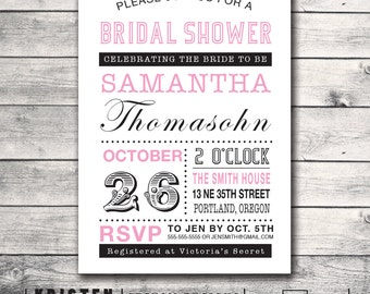 Typography Bridal Shower Invitation- Wedding Couple Bachelorette Hen- Print Order Deposit or Digital File Setup for DIY Printing