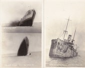 Victim of a German Torpedo- 1910s Antique Photograph- Sinking Ship- Set of 2- WWI Navy- N. Moser- Real Photo Postcard- RPPC- Paper Ephemera