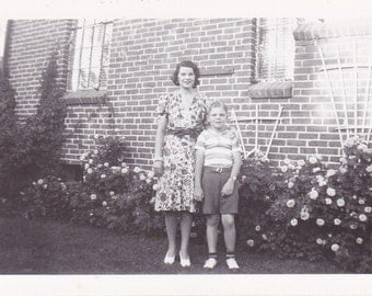 Mama's Boy- 1940s Vintage Photograph- Flower Garden- Mother and Son-  Mother's Day Snapshot-  Old Photo- Picture- Paper Ephemera