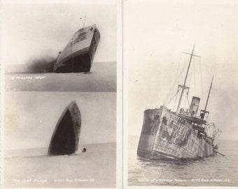 Victim of a German Torpedo- 1910s Antique Photograph- Sinking Ship- Set of 2- WWI Navy- N. Moser- Real Photo Postcard- RPPC- Paper Ephemera