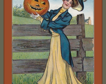 October Jack O'Lantern- 1910s Antique Postcard- Halloween Decor- Edwardian Woman Holding Carved Pumpkin- Calendar Month- Paper Ephemera USED