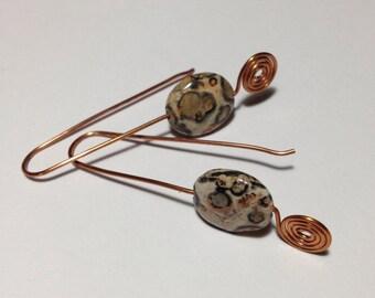 Leopard Jasper & Copper Earrings  Peach Beige and Charcoal Handmade