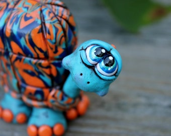Painted Desert Turquoise Turtle Polymer Clay Sculpture