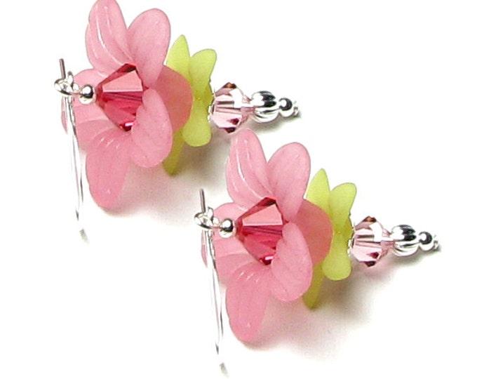 Cherry Splash Pink Flower Swarovski Crystal Silver Earrings, Romantic Summer Rose Garden Jewelry, Spring Wedding, Floral Gifts For Women
