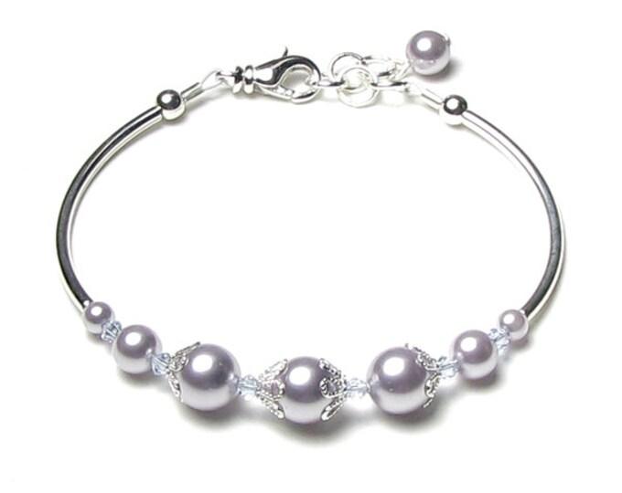 Provence Lavender Swarovski Pearl And Alexandrite Swarovski Crystal Adjustable Silver Bracelet, June Birthstone Jewelry, Bridesmaid Bracelet