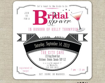 Square Pink and Black Cosmopolitan Drink Coaster Bridal Shower Invitations