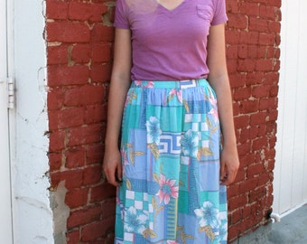 1980s Midi Skirt With Geometric and Floral Pattern in Pastels