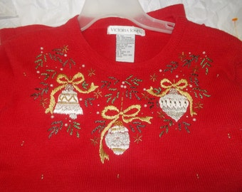 Victoria Jones ugly christmas sweater S M Gaudy fun for Holiday parties knits pullover long sleeves red sweaters christmas appliques crafty