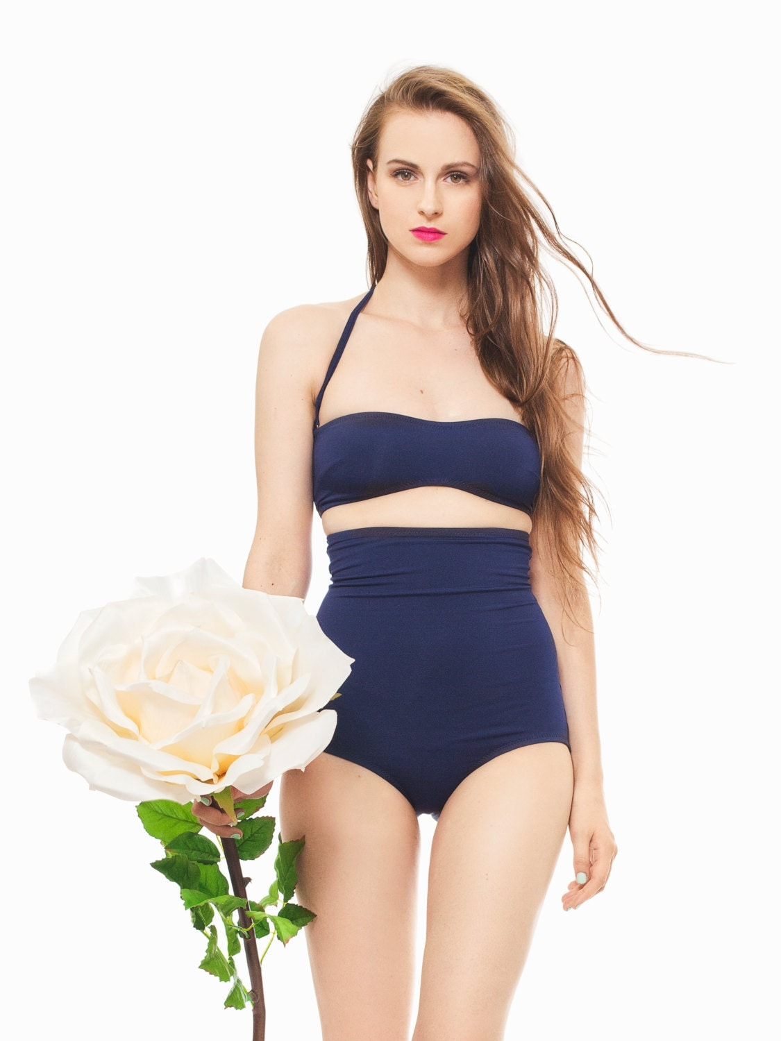 NAVY High Waisted BOTTOMS Swimsuit Swimwear Women