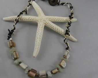 Natural Shell and Black Hemp Necklace