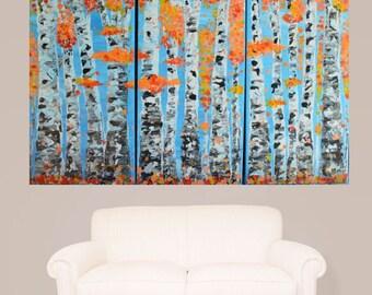 MADE TO ORDER-Orange Coral Autumn Aspen Tree Landscape Art, Multi Panel Triptych Art, MyImaginationIsYours