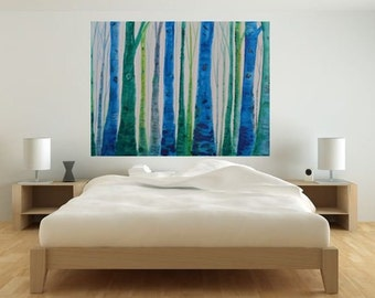MADE TO ORDER-Large Art Watercolor Acrylic Charcoal Pen Blues and Greens Aspen-Birch Tree Scene Retro Modern
