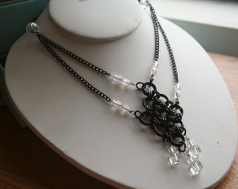 Japanese Diamond Necklace in Black and Clear
