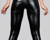 Leather Leggings w. Jeans Back, Black Spandex Pants, Back Pocket Meggings, Glam Rock Stage Clothing, Heavy Metal, by LENA QUIST