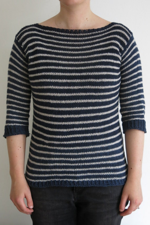 PATTERN Striped Sweater Knitting Pattern Pdf / Pullover