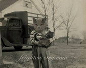 Cat Art Print, Cat in Clothes, Gray Cat Art, Farm Boy Holding Cat, Mixed Media Collage, Anthropomorphic Art