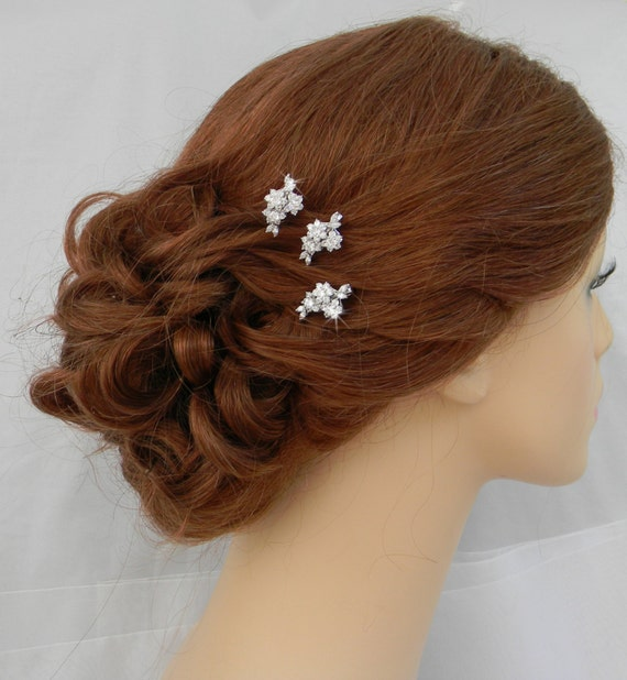Bridal Hair With Pins : Bridal hair rose gold wedding clip vintage