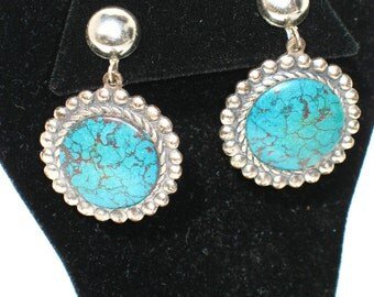 Vintage 60s Turquoise Earrings / Clip on Earrings / 1960s Dangle Earrings / Costume Jewelry / Southwestern Earrings / Boho Earrings / BP