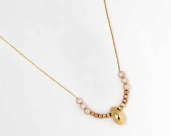 Gold bead necklace, Gold Pearl necklace, 14k Solid Gold necklace, 14k Rose Gold necklace, Gold drop necklace, Gold Wedding necklace