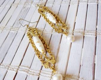 Gold & White Edwardian Inspired Long Earrings