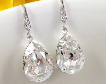 Bridal Crystal Earrings - Wedding Bridesmaids Sparkling Clear White Swarovski Crystal Dangling Earrings Under 25 Christmas Prom