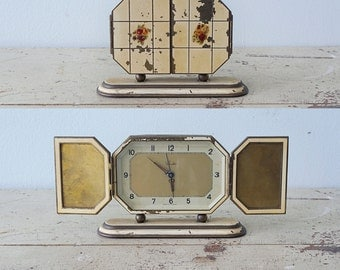 Beautiful 1930's German Art Deco Khuler Alarm Bedside Clock Cream Color and Flowers