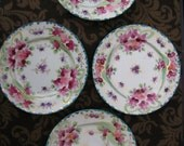 Handpainted Bread Plates Moriage Violets Teal & Gold Accents - Vintage Set of 4