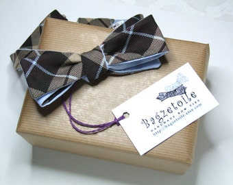 Plaid bow tie, skinny style, for men, brown and pale blue colours self tie adjustable for men