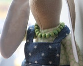 Ready to ship - Handmade cute fabric rabbit girl - dressed in a denim and white star pinafore dress and wooden bead necklace