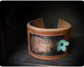 Etched Guitar Leather Cuff Bracelet