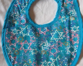 Baby Bib Multi Color Star on Turquoise  #155
