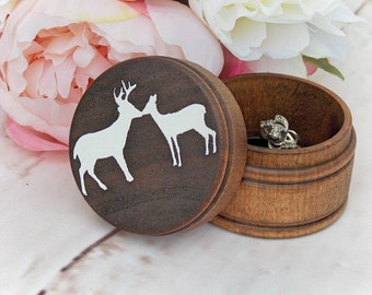 Kissing Buck and Doe Ring Box Ring Bearer Box Alternative Keepsake Ring Box Dark Walnut Wood Box Rustic Wedding Ring Box Country Wedding