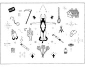 True Detective FLASH Tattoo Sheet Illustration Print // Carcosa Rust Cohle Cactus Needle Prayer Hands Cigarette Tattoos